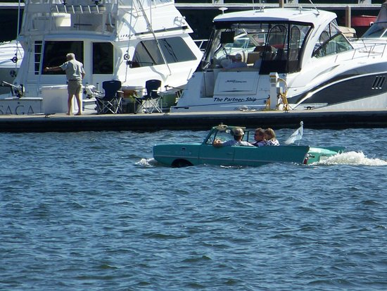 Stone Harbor Resort : yes - a car boat in the channel near the hotel