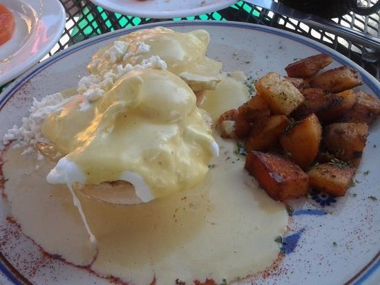 Rooster Cafe : eggs benedict with pumpkin hollandaise sauce