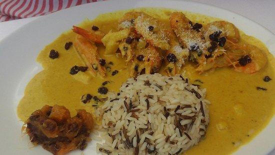 Restaurante O velho e o Mar : Caril de gambas em leite de coco com arroz selvagem