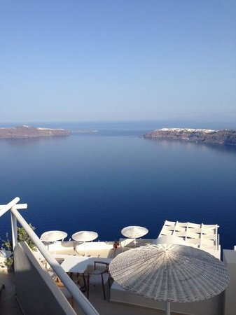 Gold Suites: View of the Caldera and Oia from our balcony