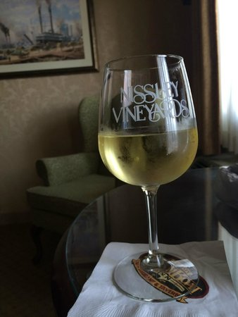 Fulton Steamboat Inn: having my Chardonnay in our room