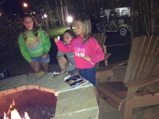 Explorer Cabins at Yellowstone: S'mores around the firepit