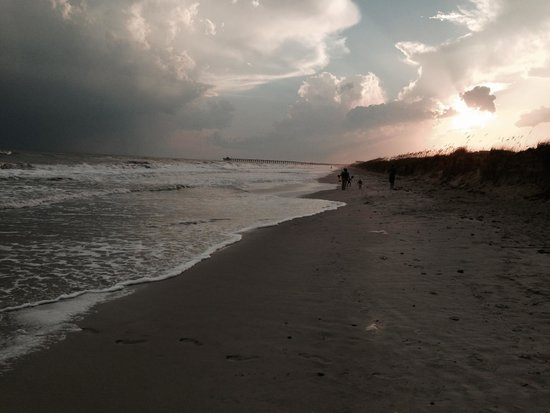 Oak Island Beaches Evening View On Beach Near High Tide Walking Toward