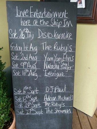 The Ship Inn: Live entertainment