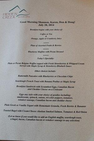 Hidden Creek Bed and Breakfast : personalized menus!