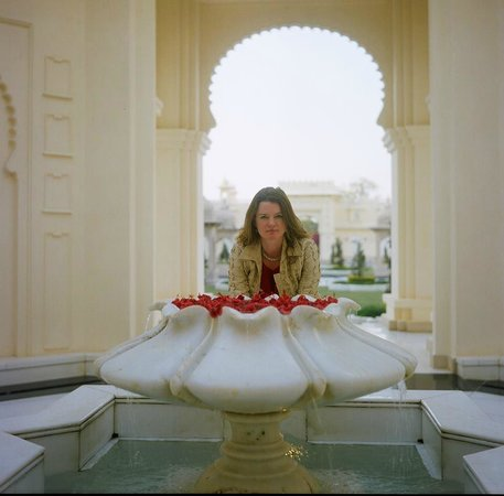 The Oberoi Udaivilas: When you arrive, someone throws rose petals on you as you pass this lotus...