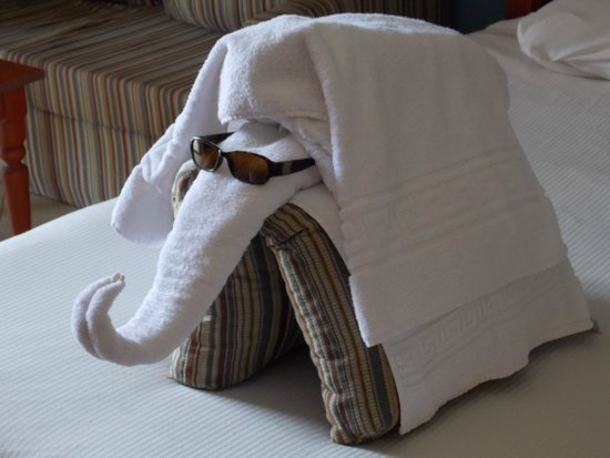 Titanic Palace: Towel display by room service daily