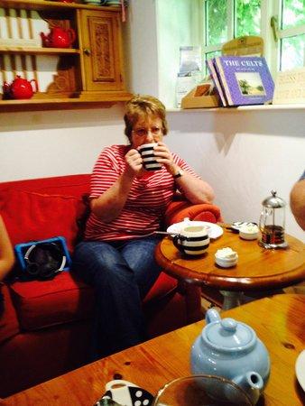 Hele Corn Mill and Tea Room: Mum enjoying her cream tea
