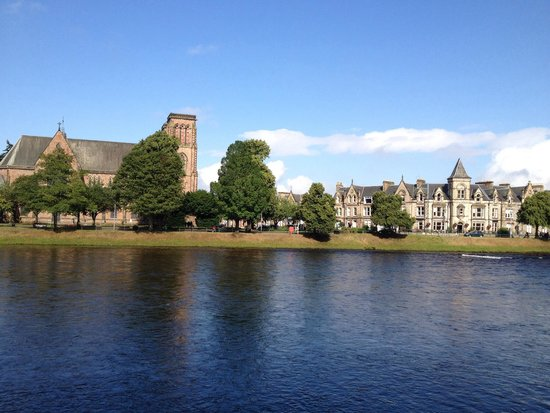 Strathness House: It looks over to the river & next to a church - it is the one with highest peak on the right!