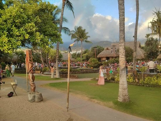 Old Lahaina Luau : View of the grounds, back to the ocean.