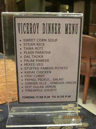 Viceroy Hotel : Fixed menu