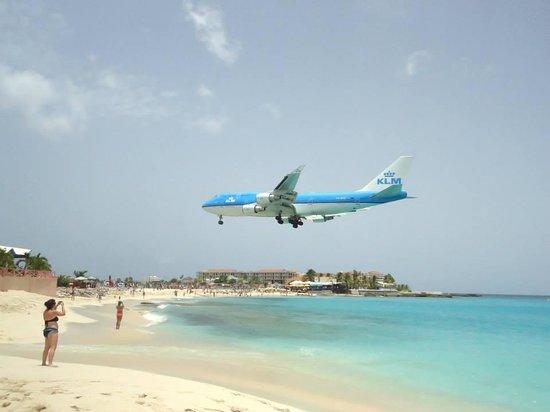 Sonesta Maho Beach Resort, Casino & Spa : Vista desde el hotel del aterrizaje de avión