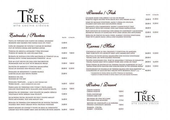 Restaurante El Tres : Nuestra carta para ti Español- English