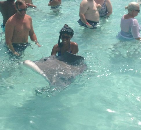 MarineLand Tours : My sister holding the sting ray