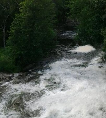 Clam Falls Campground: The sound of the Falls, heard at the Campground