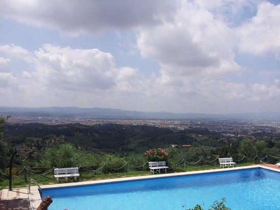 Villa Le Rondini : panorama di Firenze dalla piscina