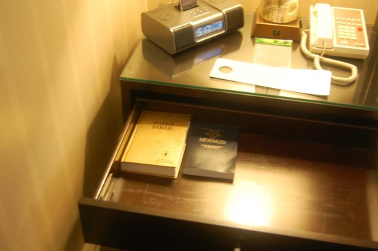 Renaissance Cleveland Hotel: The Bible and the Book of Mormon in the nightstand (the coffee/tea service is tucked underneath)