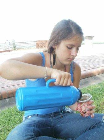 Drinking Mate in Parque de Espana