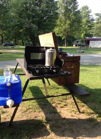 Littleton/Lisbon KOA Campground: Set up the kitchen & you're 'Glamping'!