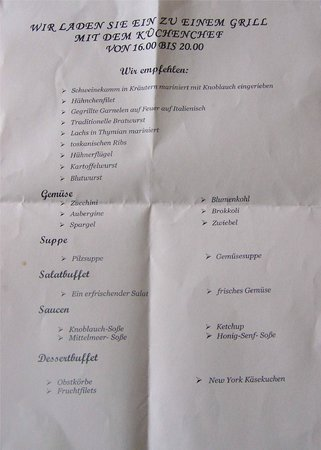 Hotel Lubicz : Auf deutsch- Karte zum Grillbuffet