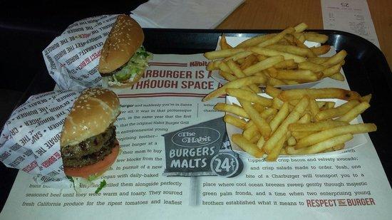 Habit Burger: A double burger and regular burger and fries
