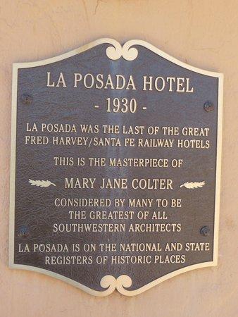 La Posada Hotel: Plaque