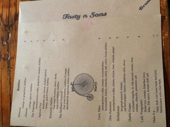 Tasty n Sons: Drink menu
