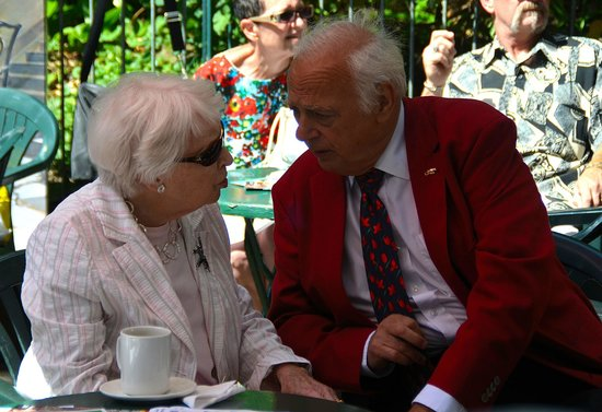 Pavilion Gardens Cafe: June Whitfield & Roy Hudd chatting