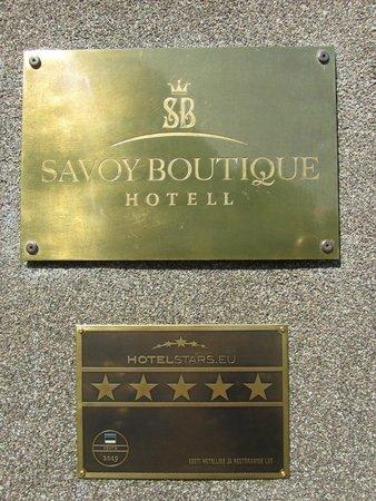 Savoy Boutique Hotel : A plaque