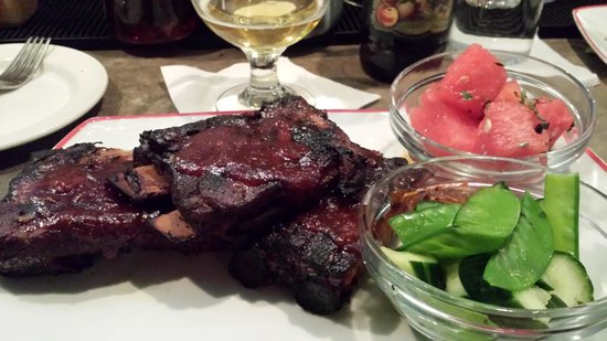Founding Farmers : Fork Tender Pork Ribs with cucumber and watermelon