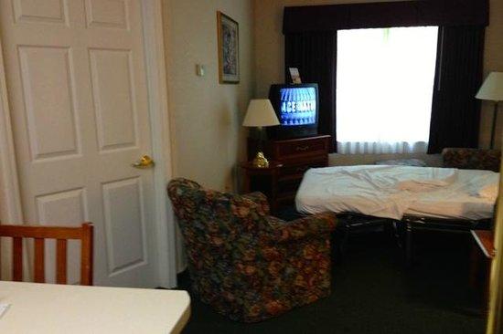 Smart Suites Burlington: Living Room w Open Sofa Bed and doorway to Bedroom