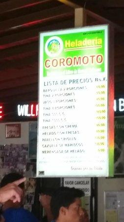 Heladeria Coromoto : Price List