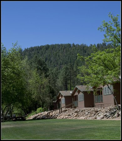 Kohl's Ranch Lodge : near the stream, facing the back of cabins