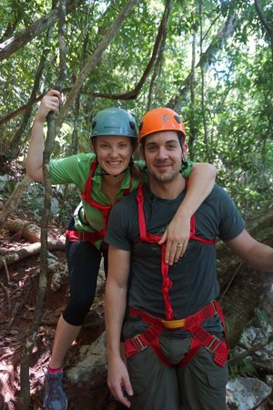 Ian Anderson's Caves Branch Jungle Lodge: Kids about to rappel into the Black Hole