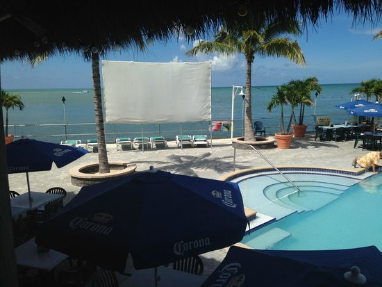 Sunset Grille and Raw Bar: Pool and Movie Screen
