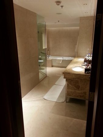 Shanghai Marriott Hotel City Centre: Large master bath has electrical outlet that can accommodate appliances such as flat irons and h