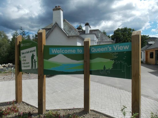 Queen's View : New Info Boards outside the newly vamped buildings