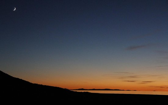 Antelope Island State Park : Sunset and moon from our campsite