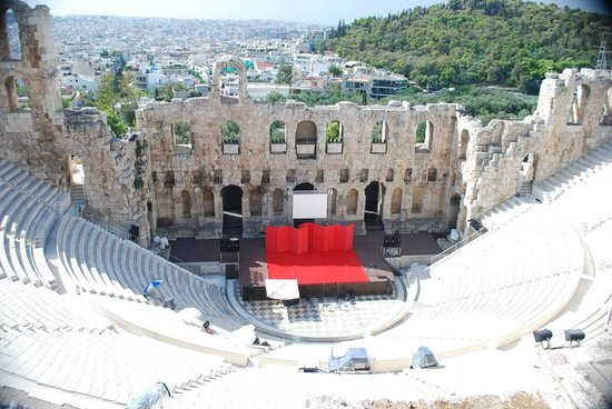 Herod Atticus Odeon : On way up to Acropolis, looking down into the theater.