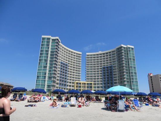 Avista Resort: View from the beach, notice the city rental chairs lined up.