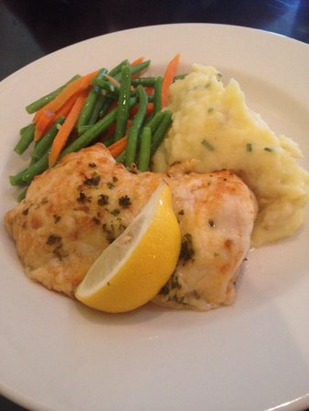 Blue Seafood and Spirits: Asiago crusted fresh fish