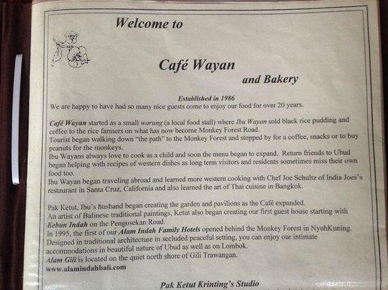 Cafe Wayan Menu