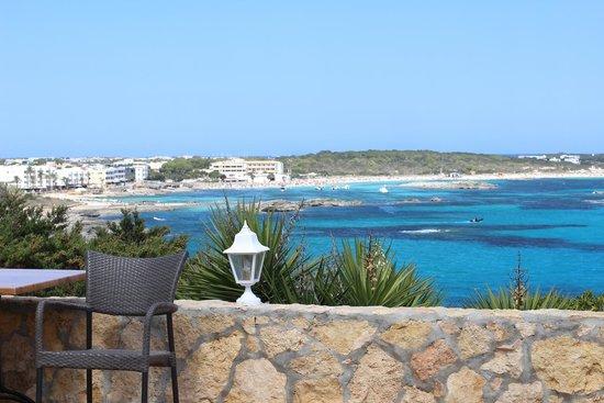 Hotel Club Punta Prima: La spiaggia di Es Pujols vista dalla terrazza del bar