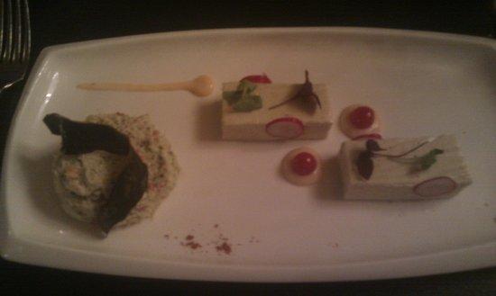 Chateau Mariadal : Mayonnaise of crab with basil, panacotta of eggplant, smoked salmon dressing.