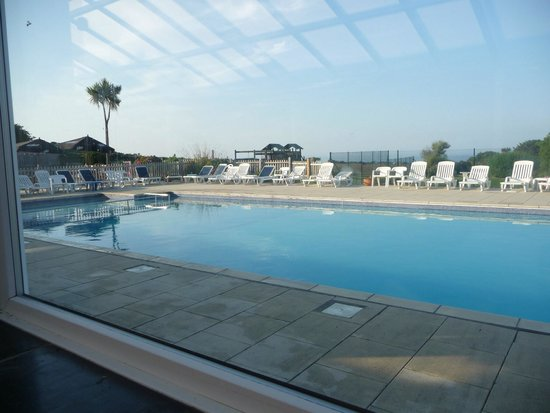 Polmanter Touring Park: View of pool from conservatory