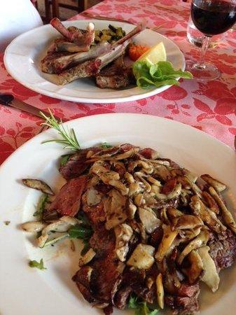 Trattoria Della Vigna: Tagliata De Manzo (steak) Smothered In Mushrooms. Lamb  Chops