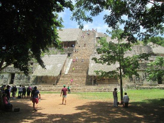 Ek Balam Mayan Ruins : Front View of Pyramid