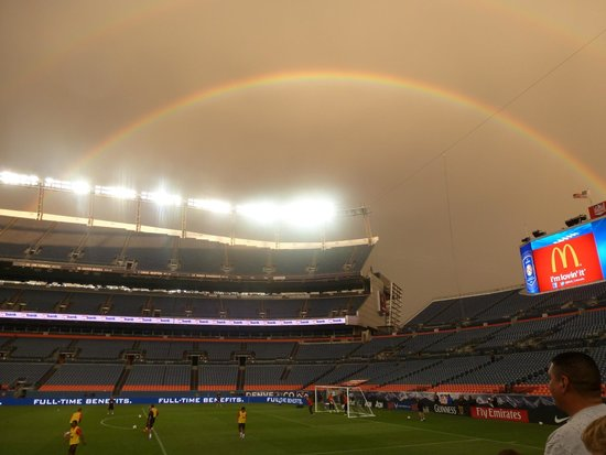 Sports Authority Field at Mile High: Rainbow over training!
