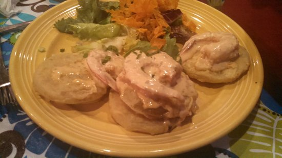 Jacques-Imo's Cafe: Fried green tomatoes with shrimp in a cream sauce