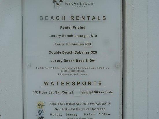 Miami Beach Resort and Spa: Precio de las actividades en la playa